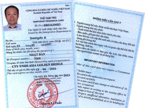 a sample of Vietnam-Temporary-residence card