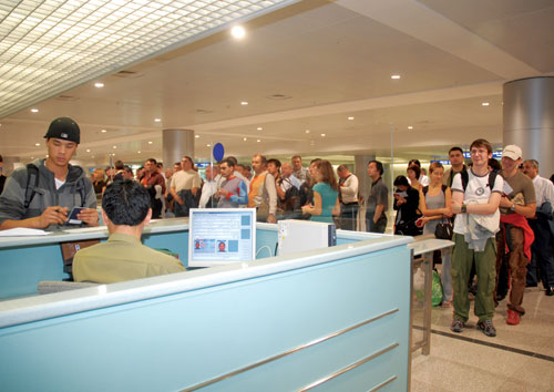 Foreigners at Vietnam Immigration Counter - Airport